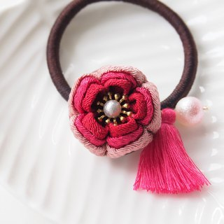 Charming Shades of Red Flower Tassel Hair tie custpm