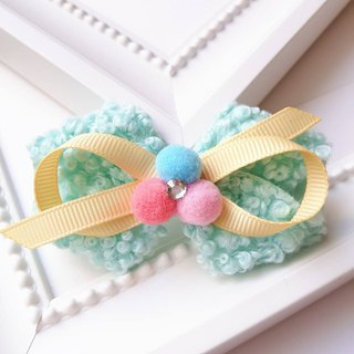 Terry circle + small round bow hairpin / green