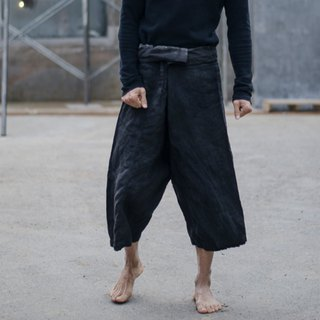 Unforgettable | stone gray natural plant blue dyed linen casual trousers wide pants wide leg pants lace pants