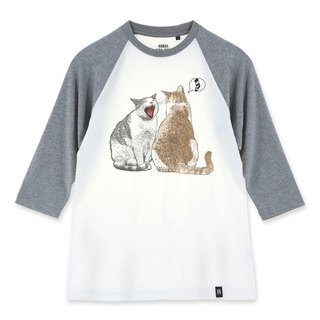 AMO®Original canned cotton adult 3/4 Raglan T-Shirt /AKE/The cat smell salted fish from friend's mouth