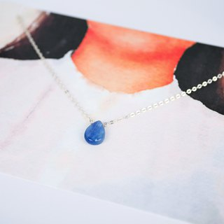 [Natural Stone Series] Kyanite Flat Water Dropped Silver Necklace