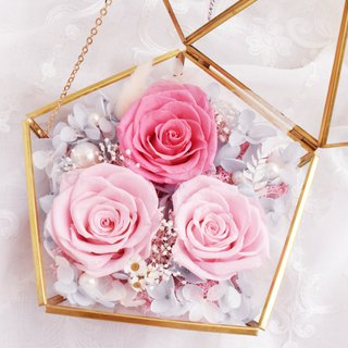 WANYI (powder) color sugar diamond glass big treasure box eternal flower / marriage proposal / rose / Valentine's Day / anniversary