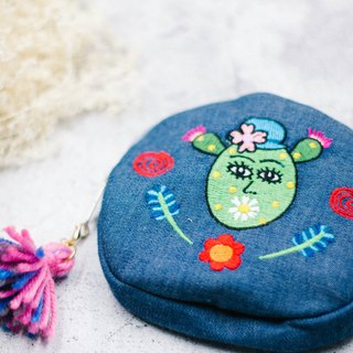 Belongs To J. Illustrator X Embroidered Denim Cotton Canvas Round Coin Purse - Flower Daily