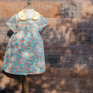 Round neck small dress - flowing water hydrangea young children's children's hand made