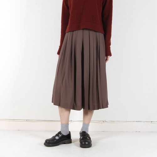 Egg plant vintage simple living pleated vintage wool wide pants