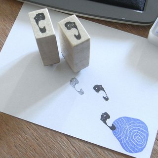 Handmade rubber stamp Footsteps of  barefoot