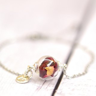 Real Rose Petal in Glass Ball Stainless Steel Bracelet