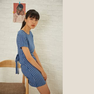 Linen Stripe Dress - Blue