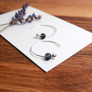 Obsidian Crescent Earrings (Small) - 925 Sterling Silver Natural Stone Ear Pins