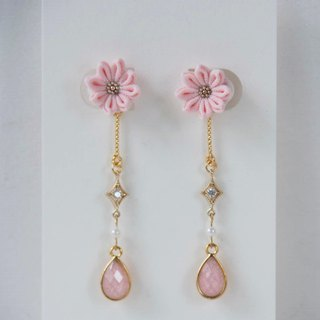 E99【Shimmer elegant】Pink water drop long hanging custom earrings ear clip S925 14KGF