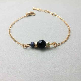 ♥ HY ♥ x bracelet handmade brass beads section fine glass crystal chain bracelet