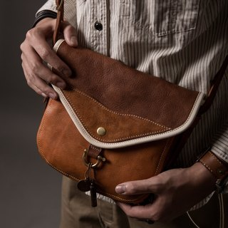 HEYOU Handmade - The Wayfarer's Bag - Passenger Saddle Bag (Orange / Coffee)