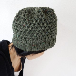 yuoworks / hand-knit cap / grass color / green / beanie