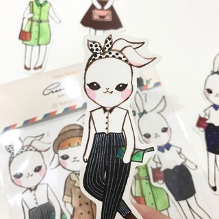 [City of Paris series] Snow Bunny watercolor 5 into stickers / 1 start writing card card group