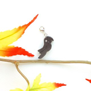 Parrot wooden charm (can choose gold / silver plated Lobster clasp)