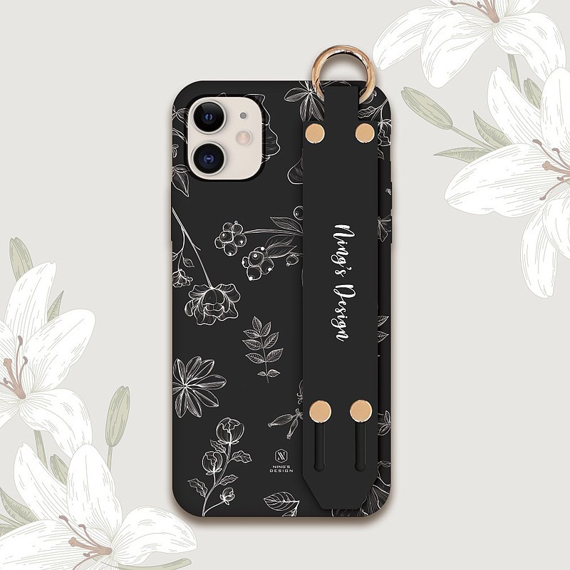 Customized-Wenqing hand-painted floral phone case iPhone7 8 X XS XR 11 etc. (Android please ask)