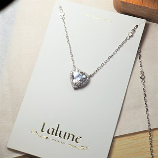[Lalune] 925 sterling silver Jump Beating No. 1 heart-shaped white diamond pendant necklace