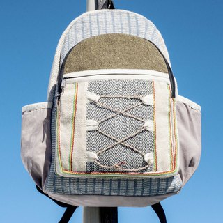 Cotton and linen stitching design backpack backpack national mountaineering bag handmade computer bag - hand weaving green space