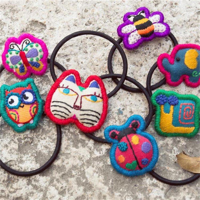 Wang's hand-created creative hair accessories hair ring hair rope original pure hand embroidery literary cotton Ma Sen female cute insect