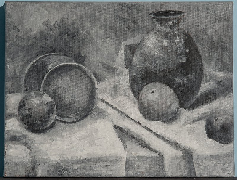 Cai Shuru's oil painting creation in black and white and gray