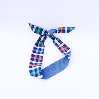 【The MAMA's Closet】Denim with Checked (Rainbow) /  Classic Headband
