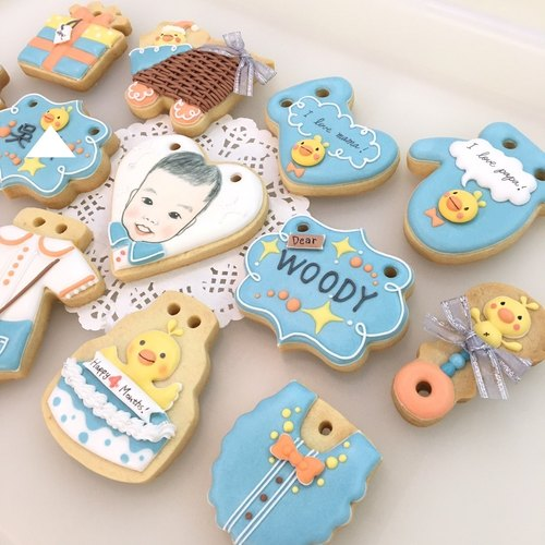 Blue soft cloud chicken biscuits 12+1 tablets (customizable baby head)