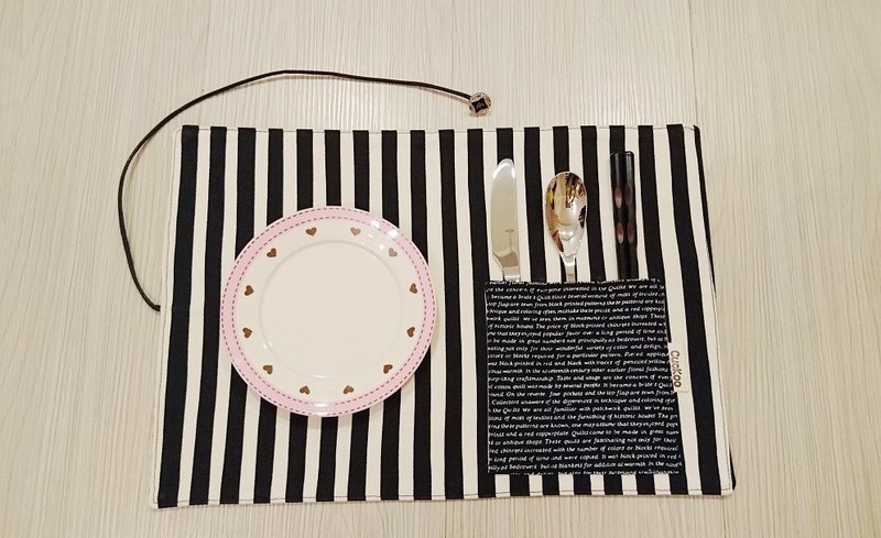 Environmentally friendly tableware storage bag table mat placemat picnic mat environmental chopsticks set stripe pop style