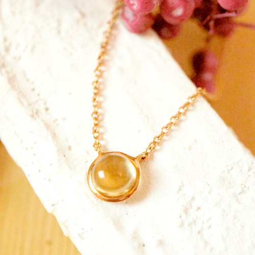 DOTDOT- 6mm Round Cabochon Citrine t 18K Rose Gold Plated Silver Necklace