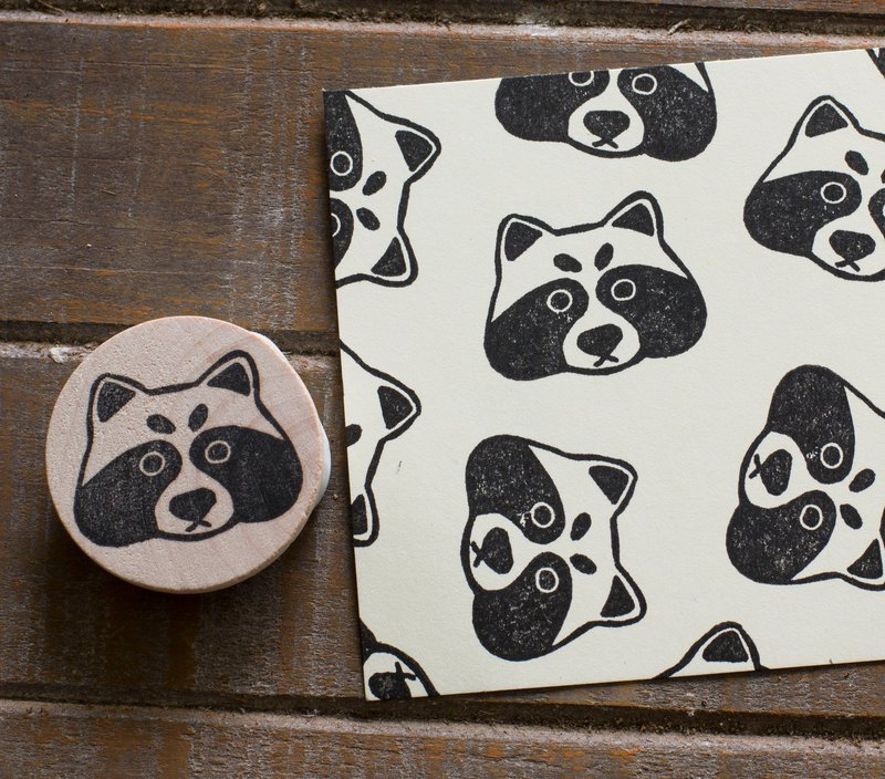 Good Friend in the Forest Series Little Raccoon Carved Seal Hand Carved Rubber Stamp