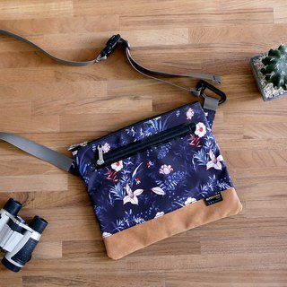 [RITE] Le Tour Series - Japanese Multilayer Side Backpack - Tropical Black Flower