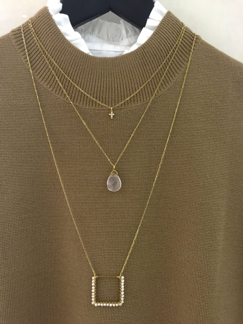 ∴Minertés = Rose Quartz Cross Zircon ‧ ‧ brass necklace ∴