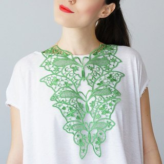GREEN  Clothing Gift Necklace Venise Lace Necklace Lace Jewelry Bib Necklace Statement Necklace Body Jewelry Gift/ FIORDI