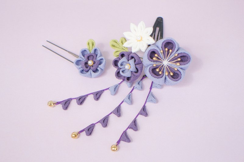 Petite cute mini bouquet hair ornament Purple gradation purple sniffing knife plum plum