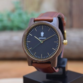 EINBAND Glanz BLACK 36mm Wooden Watch Brown Leather Belt