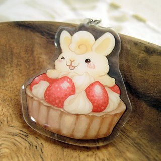 Acrylic Double Sided Pendant - Strawberry Rabbit 2.0 - Strawberry Egg Tower