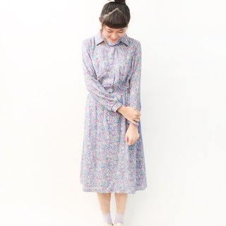 Made in Japan Retro Floral Gray Purple Long Sleeve Thin Vintage Dress Japanese Vintage Dress