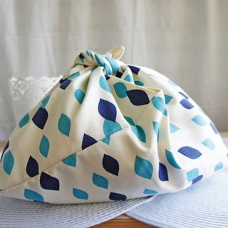 Lovely [Japanese cloth order] geometric water puff foldable carry bag, green bag, dark blue