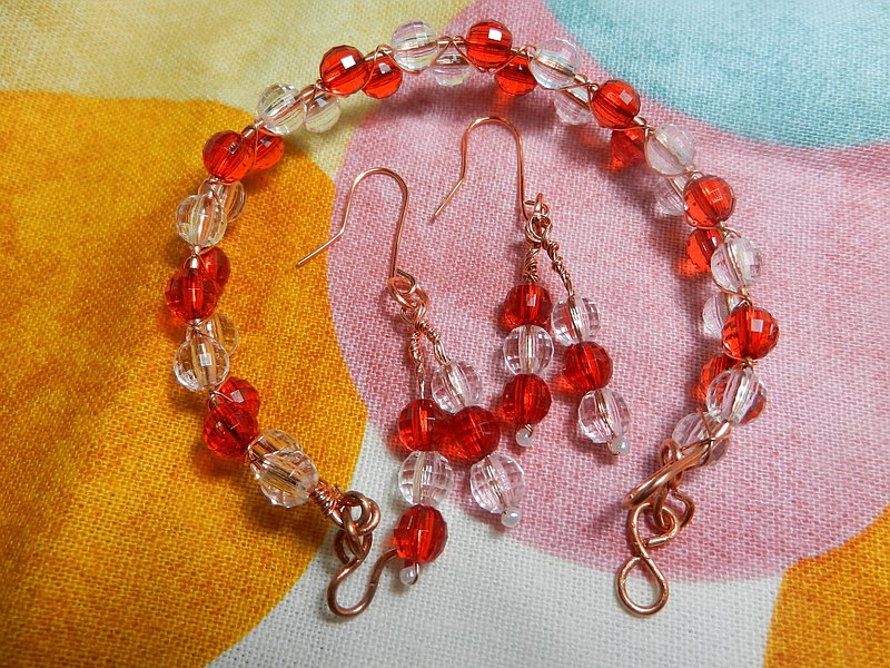 Jewelry set--earrings, bracelets / bracelets--A09 (colorful-red and white)