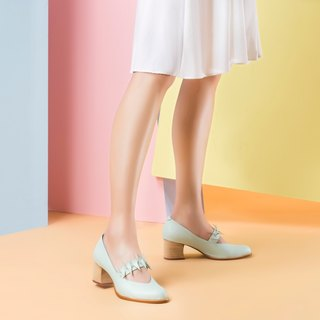 Venus Flytrap mid heel (mint blue handmade leather shoes)