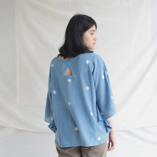 Butterfly shirt / indigo dot / loose fitting cotton blouse