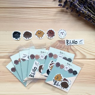 Boho Bears Dog / Poodle / Dog Hand Painted / Animal Sticker smalltwo