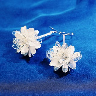Autumn winter ball winter silver x white hand made jewelry earrings