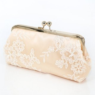 Handmade Clutch Bag in Pastel Peach  | Gift for bridal, bridesmaids |  Floral Alencon Lace