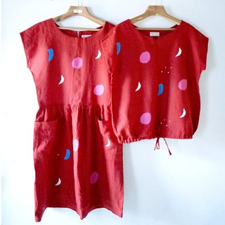 Red Moon/Gemstone Large Pocket Breathable Linen Pocket Dress Back Zipper