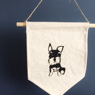Schnauzer dog hanging flag handmade stenciled canvas flag
