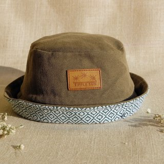 Tipple Sun Bucket hat   (Olive green/Traditional fabric)