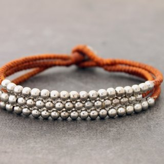 Rust Brown 3 Strand Silver Bracelets Beaded Woven