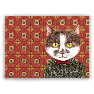 Hand-painted illustration Universal / postcards / cards / illustration card - retro tile 02 + sweater