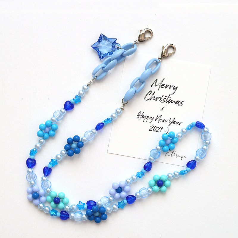 Christmas gift 2021 - Blue Flower Mask Lanyard - Strap for mask 口罩掛繩