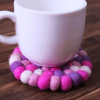 【Grooving the beats】Cup coasters, Felt coasters(Round_10cm_Pink+Purple)